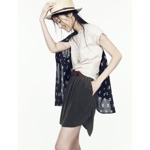 Madewell Black Sun Garden Shirtrail Silk Skirt
